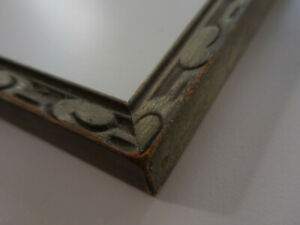 Vintage Carved Wood Picture Frame Fits a 10x13 Picture Swirl Design On Gray