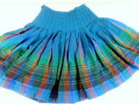 Pendleton Turnabout Pleated Skirt S M Reversible Blue green Wool Stripe vtg