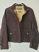 Eddie Bauer Womens Brown Corduroy Jacket Size S quilted and lined