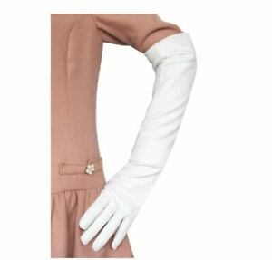Long Leather Women Gloves Elbow Lined Soft Ladies Winter Warm Evening Party 50cm
