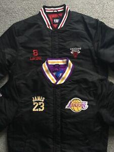 BNWT Official NBA Mens Basketball Bomber Jacket LA Lakers James 23 Chicago Bulls
