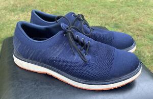 Mens SWIMS Motion Cap Toe Knit Navy Blue Orange Casual Dress Shoes Sz 10