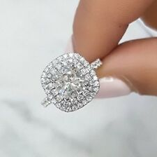 1.80tcw Natural Cushion Cut Double Halo Pave Diamond Engagement Ring - Gia Cert