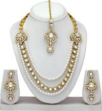 Indian Bollywood Fashion Ethnic Gold Plated Kundan Necklace Earrings Jewelry Set