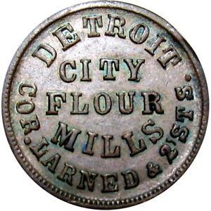 1863 Detroit Michigan Civil War Token Detroit City Flour Mills