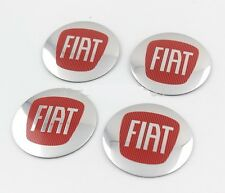 Set of 4 Sticker FIAT Silver Red 3D Style Wheel Center Hub Cap Badge Emblem 56mm