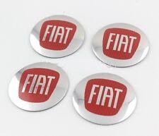 Lot de 4 sticker fiat argent rouge 3D style wheel center hub cap badge emblème 56mm