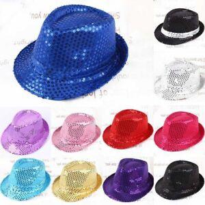 Flashing Fedora Trilby Sequin Unisex Fancy Dress Dance Party Hat Theatre D Nice