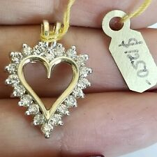 .50 carat Solid 14K yellow gold natural diamond heart pendant charm 0.85 inch lg