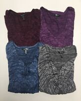 Daisy Fuentes Ladies's 3/4 Sleeves Knot Front V Neck Top Blouse S-M-L-XL NWT