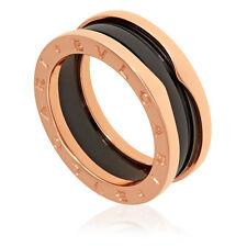 Bvlgari B.Zero1 18K Pink Gold And Black Ceramic 2-Band Ring Size 10.5