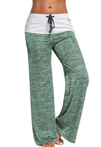 Women's Yoga Pants Athletic Workout Foldover Stretch Casual Comfy Wide Trousers