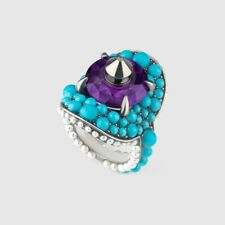 Gucci Womens Purple Swarovski Crystal Ring Blue Stones 425407 Size 13 GUC 6.5 US