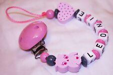 ♥ Schnullerkette mit Namen ♥ Babyeule mit Herz ♥ Handgefertigt ♥ Mädchen ♥ Baby