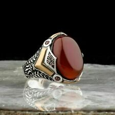 AAA QUALITY 925 STERLING SILVER MENS JEWELRY CARNELIAN MENS RING