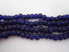 Blue Translucent Glass Crow Pony Beads Jewelry Craft Bead 100 pcs 9 x 6MM