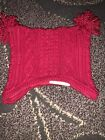 Baby Girls Janie And Jack Red Crochet Pom Pom Ear Covering Hat Sz 0-3 Months