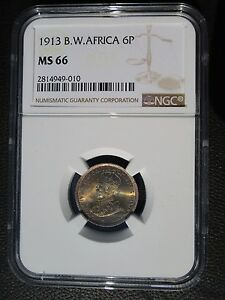 1913 British West Africa 6 Six Pence, NGC MS 66, Superb