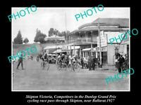 OLD 8x6 HISTORICAL PHOTO OF SKIPTON VIC DUNLOP BICYCLE RACE IN MAIN St 1927