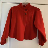 Vintage 60s Merle Chicago Cropped Bolero Blazer Size Small Jacket Red Wool