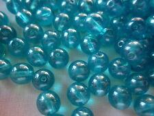 30 Teal Blue Lustre 8mm Czech Glass Beads #cz2933