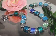 BILDSCHÖNE Halskette aus Glas Quadraten Silberfolie in Rahmen Meeres Farben