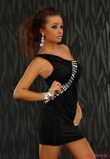 SEXY abito vestito nero monospalla con maxi strass taglia unica Fashion GLAMOUR!