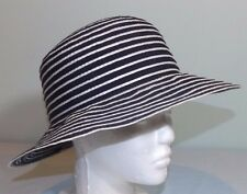 Talbots Navy Blue   White Striped Fabric Cloche Hat Church Sun Garden Party  ... 00c1d022c21b
