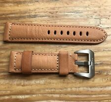 24mm Panerai Brown Leather Band with Panerai Brushed Buckle