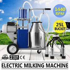 25L Electric Milking Machine Ideal Equipment For Farm Cows W/Bucket Vacuum Pump