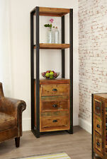Urban Chic Furniture Reclaimed Wood Narrow Bookcase with Drawers Steel Frame