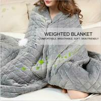 POLYESTER ADULT WEIGHTED SOFT BLANKET QUILT SLEEP HELPER ANXIETY INSOMNIA STRESS