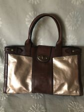 FOSSIL Vintage Reissue Weekender Brown Rose/ Gold Leather Satchel Overnight Tote