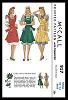 McCall # 917 Bib APRON Fabric sewing pattern Vintage 1940's Small or Medium COPY