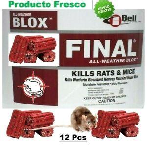 12 Pcs Final BLOX El Mejor Cebo Carnada Veneno mata Ratas Ratones Mouse Rat Mice
