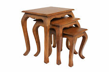 Nest of Tables Rustic Traditional Three Piece Solid Acacia - Burnt Oak Finish