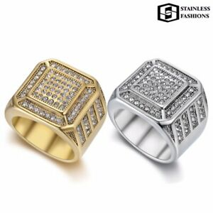 Engagement Wedding Iced Out Diamonds Full Men's 18K Gold Silver Ring