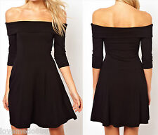 Sexy Off Shoulder 3/4 Sleeves Party Casual Club Flared Skater Skirt Dress LARGE