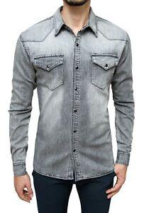 Camicia di Jeans uomo Grigio denim casual slim fit in cotone S M L XL XXL