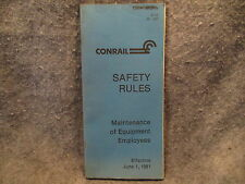 Conrail Safety Rules Maintenance Of Equipment Employees R8 4-87 Booklet Manual