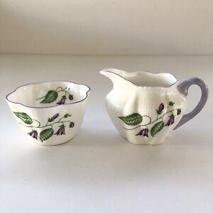 Vintage Shelley England Fine Bone China Campanula Mini Creamer Sugar Bowl Set