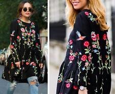 womens Floral flower Embroidered Dress Round Neck Vintage Black flower Dress