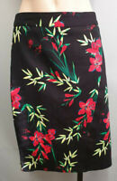 BNWT Ladies Sz 14 Target Preview Sateen Knee Length Black Floral Print Skirt