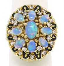 VINTAGE 14K Opale Ovale Oro Giallo Diamante & SMALTO NERO da donna MIX ANELLO