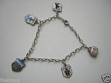 835 Silber Bettel-Armband 4 x Wappen + gepr. Silber Glocke 800/835 18 cm/8,0 g