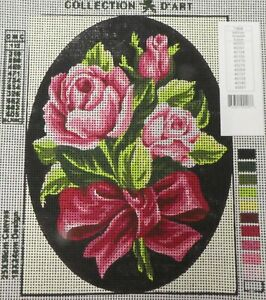 3 PINK ROSES BOUQUET WITH PINK BOW - NEW TAPESTRY to Stitch - Collection D'Art