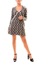 Free People Women's Chevron V-Neck Sweater Dress Black Combo RRP £129 BCF78