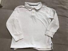 Hanna Andersson 110 Boys White Polo Long Sleeve Shirt Size 4-5 Uniform
