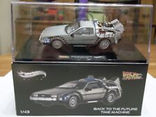 HOT WHEELS ELITE-Ritorno al futuro TIME MACHINE DE LOREAN 1/43 Nuovo di Zecca