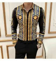 Dashiki Versace Medusa Shirt Long Sleeve Gold Baroque Men Vintage Luxury Clothes